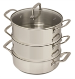 Pyrolux Steamer Set 3 Tier 24cm Stainless Steel -cookware-specialty-What's Cooking