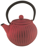 Avanti Ribbed Round Cast Iron Teapot 500ml Red-tea-makers-and-pots-What's Cooking Online Store