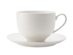 Maxwell & Williams White Basics Diamonds Tea Cup & Saucer 220ML-white-dinnerware-What's Cooking