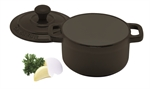 Le Chasseur Round French Oven Matt Black 24cm 3.8 Litres-cast-iron--What's Cooking