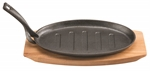 Pyrolux Pyrocast Oval Sizzle Plate With Tray 27 x 18cm-cast-iron--What's Cooking