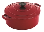 Le Chasseur Round French Oven 24cm 3.8 Litre Federation Red-le-chasseur-What's Cooking