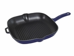 Le Chasseur Square Grill Pan 25cm French Blue-fry-and-grill-What's Cooking Online Store