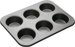 Bakemaster 6 Cup Large Muffin Pan 35 X 26 cm-cake-tins-and-baking-trays-What's Cooking